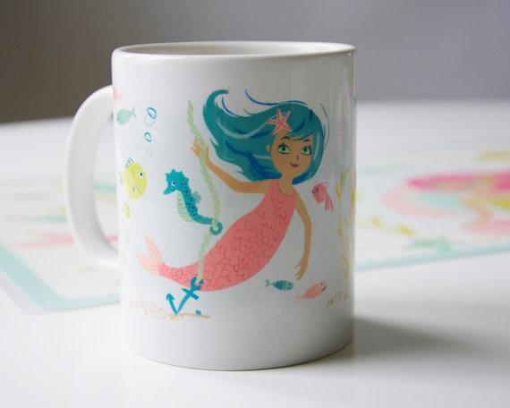 Mermaid Mug, 11 oz., $15 by Sea Urchin Studio