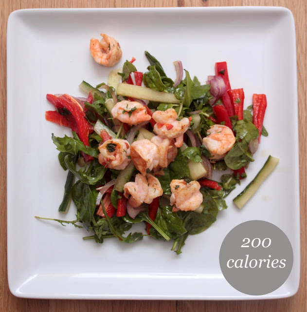 meg-made: 5:2 Diet recipes - garlic and chill prawn salad