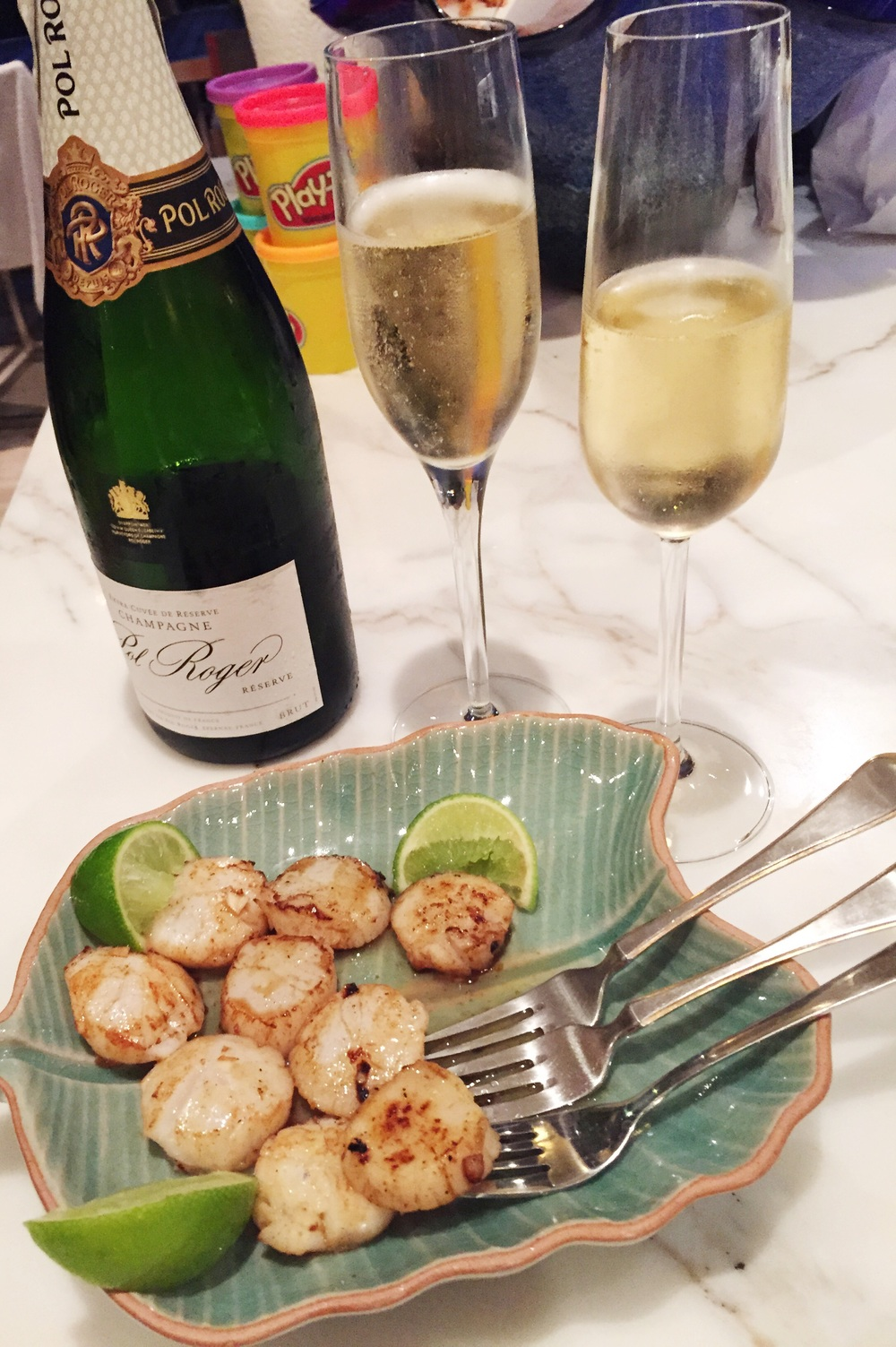 Scallops, playdoh and Pol Roger. All the elements required for a celebration!
