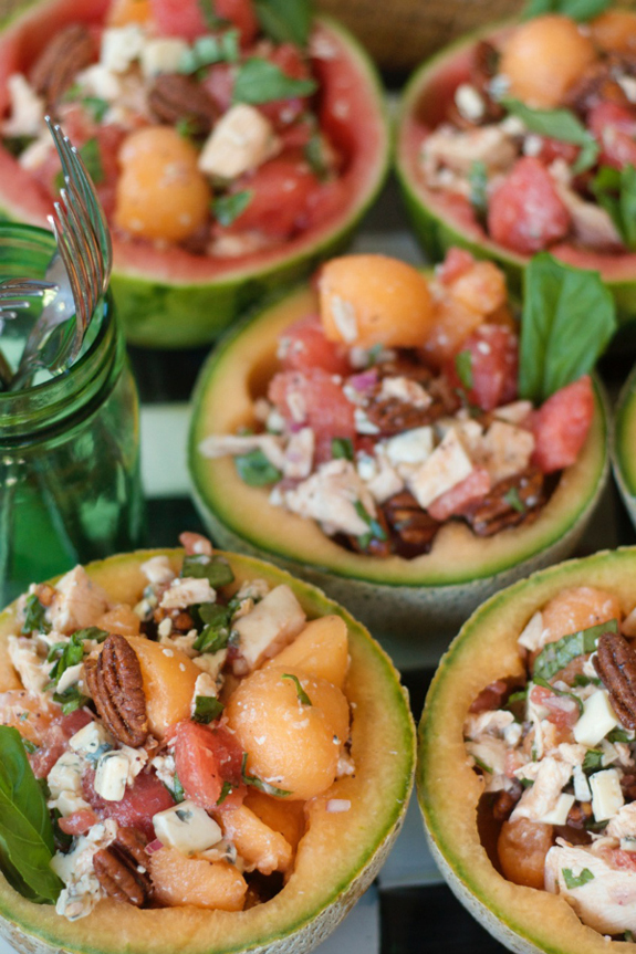 Image credit: brilliant chicken melon salad bowls via the Reluctant Entertainer