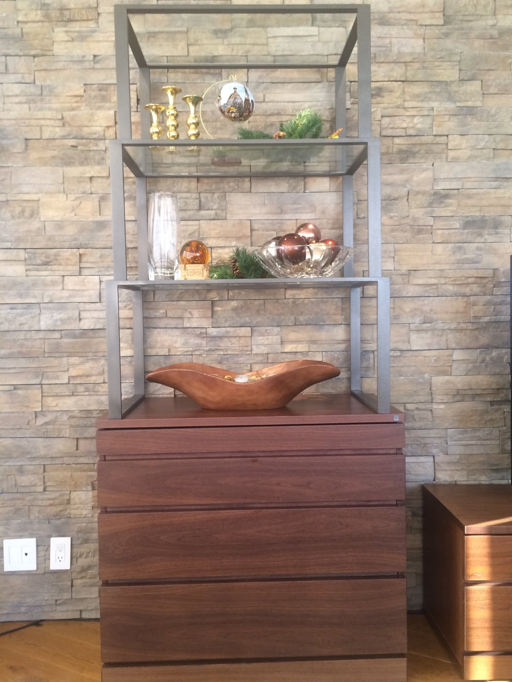 Custom   Etagere   with a Walnut base and mild steel shelves