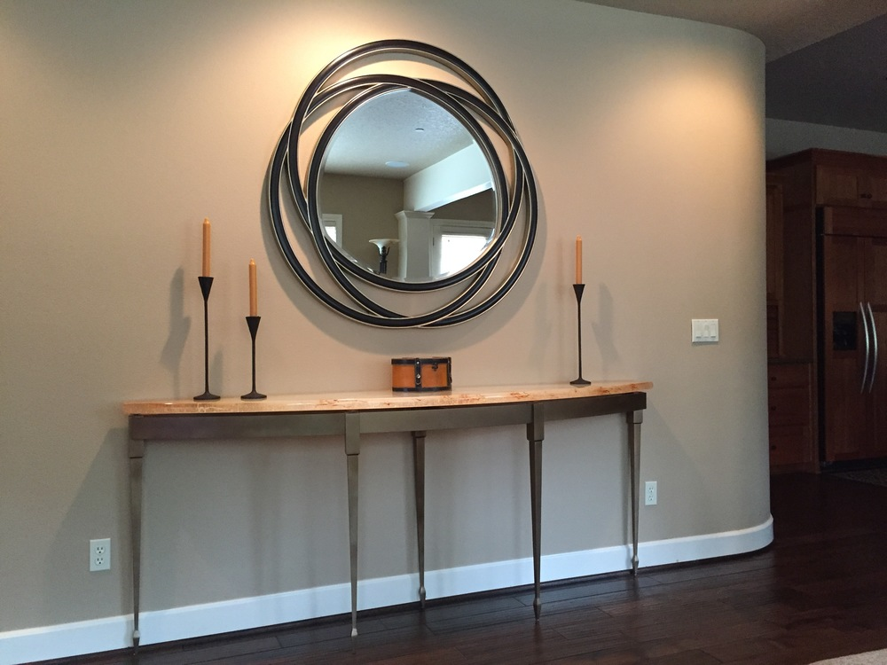 "2"" Casted Glass Console Table w/ Custom Bronze Base"