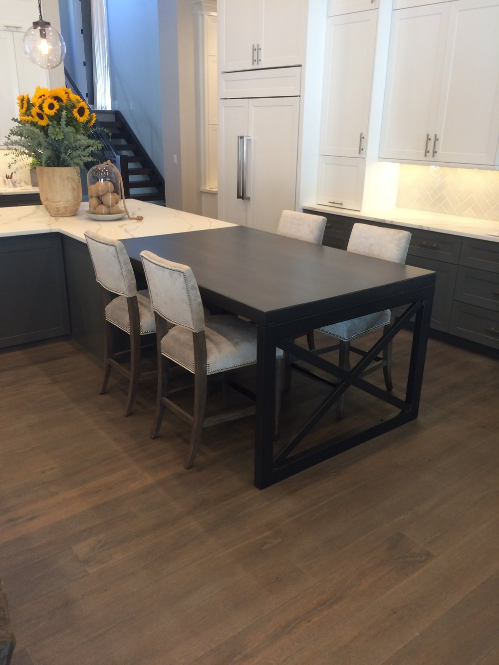 Butcher Block Island with Metal Base