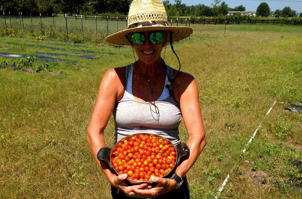She's a grandma! Karen Fennell of Happy Earth Farm - more fit than anyone I know.