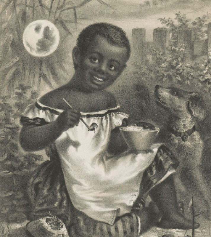 Little girl blowing soap bubbles. (From a Civil War political cartoon.) Credit: Library of Congress