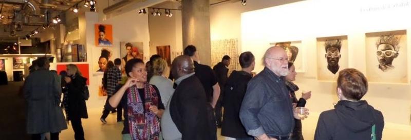 Talking to O. David Jackson at Alki Arts' celebration of Black History Month. Credit: Alki Arts