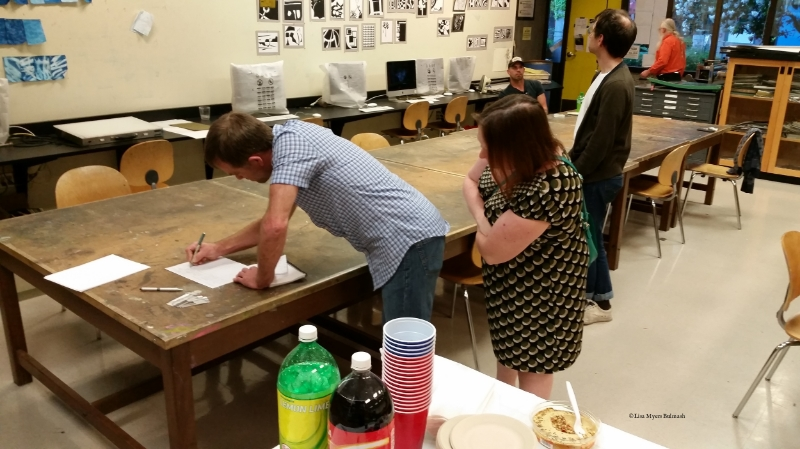 Taking the first steps into an art career with Artist Trust, at North Seattle College.  © Lisa Myers Bulmash