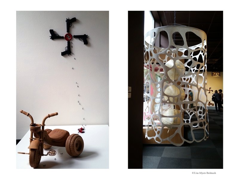 "Humaira Abid, ""Self-Portrait"" (left); June Sekiguchi, ""How to Wrap Three Eggs"" (right)"