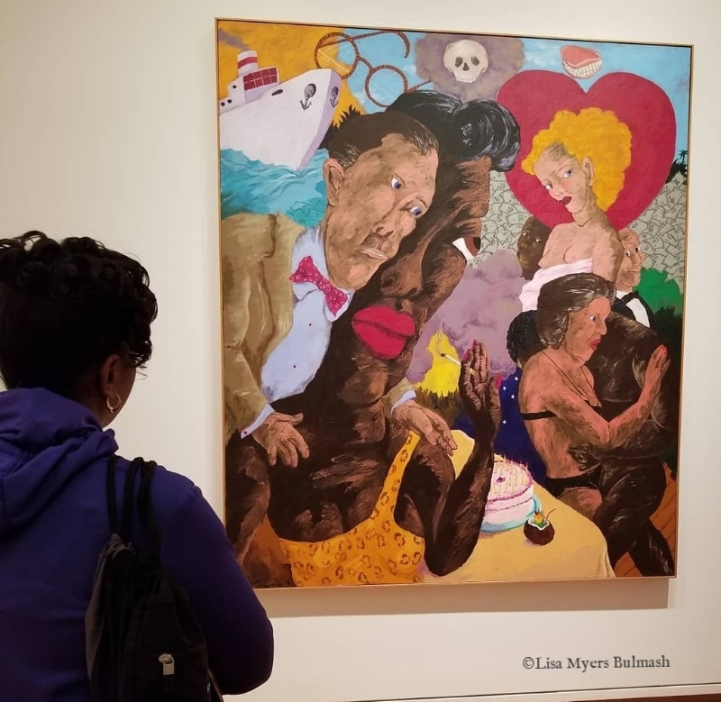"Artist Valencia Carroll views Robert Colescott's ""A Cruise to Southern Waters"""