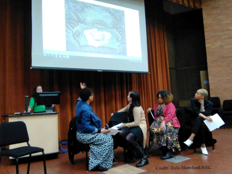 Me speaking at North Seattle College, with artists Gabrielle Nomura Gainor, Elisheba Johnson & Tariqa Waters
