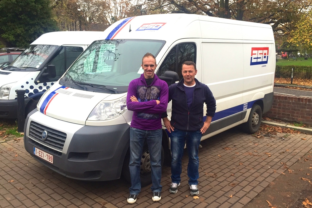 David Cools & Geert Gevers at 250London HQ picking up the stock this week. Nice Van!!