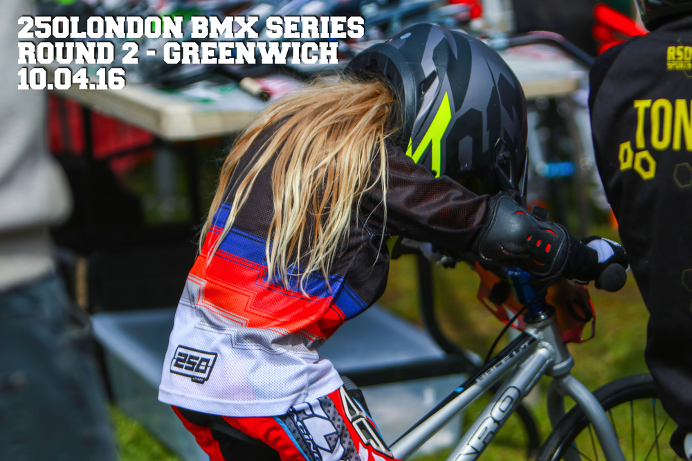 Finlay, from Hammersmith BMX Club, psyching herself up!  Image @ Lori Waite