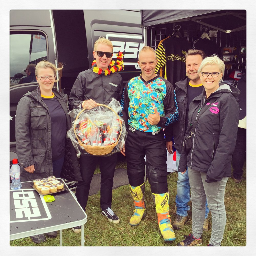 Leen, David, Geert + Kitty presented Adam with an outrageously generous hamper of goodies from Belgium!