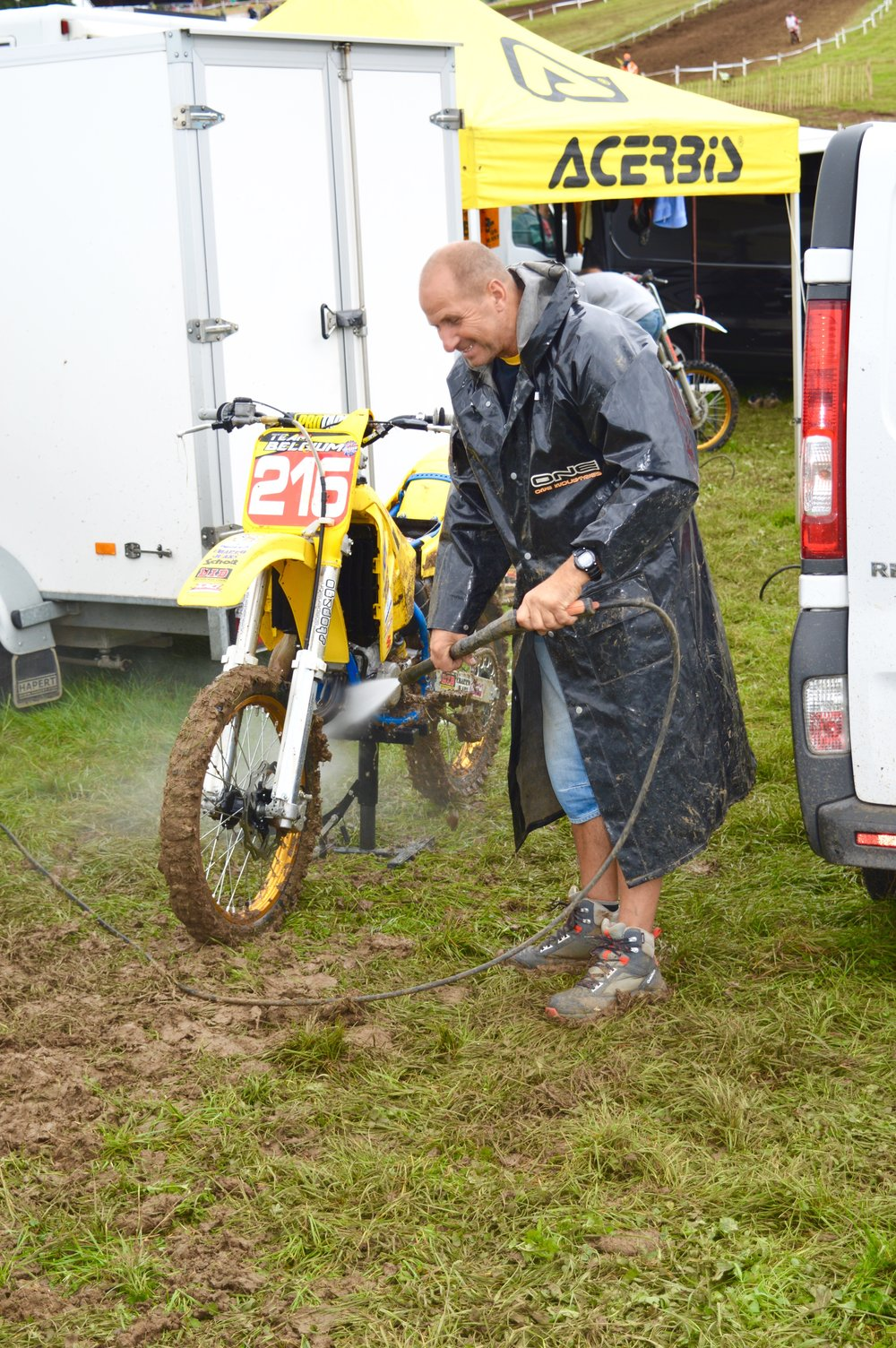 Daddy Cool's washing David's bike.  What a guy!
