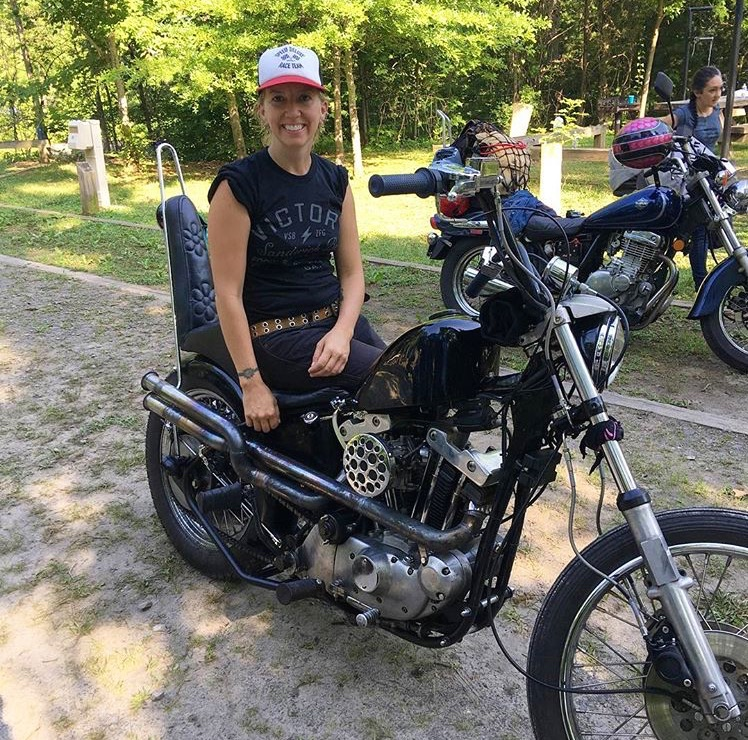 Jamie on her 1974 Harley Davidson Ironhead Sportster at No Man's Land 2016