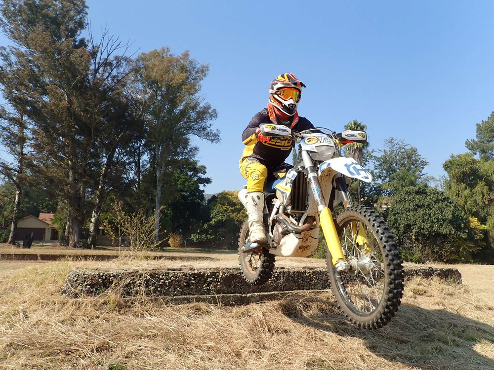 Gerritt mucking about between the hard enduro sections of the ride