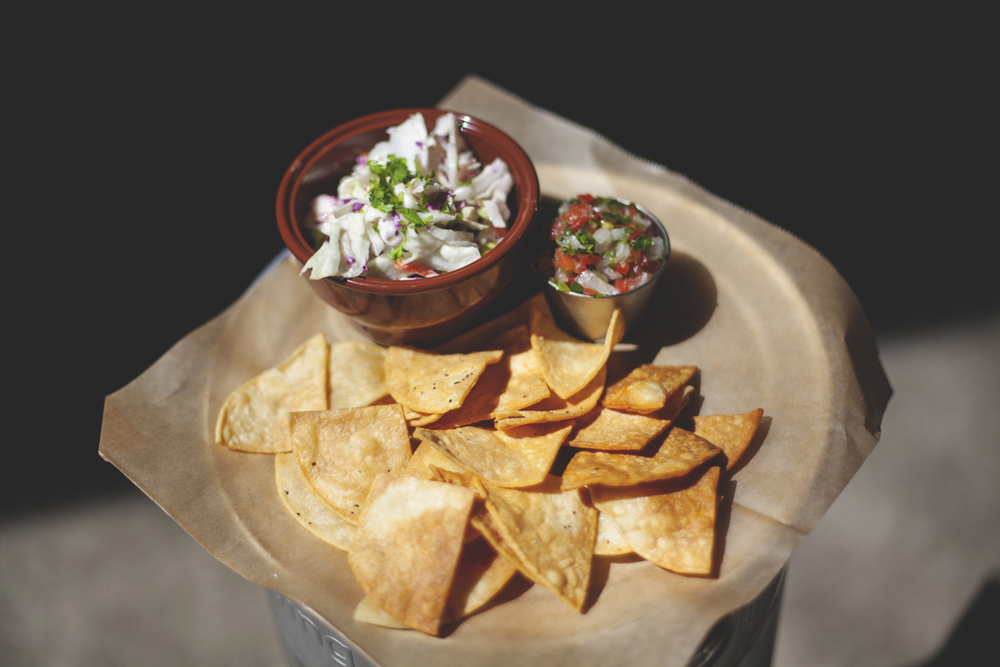 Black Bean Dip and Chips (*V/GF) $5 BLACK BEANS + AVOCADO CREAM + PICO + HOUSE MADE TORTILLA CHIPS