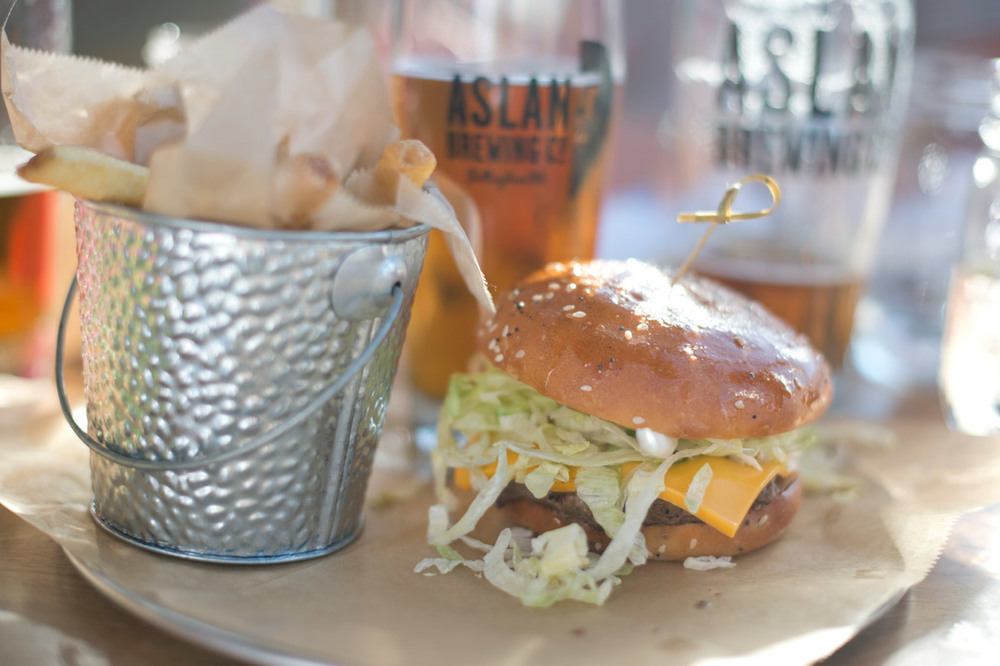 Classic Bison Burger (*GF) $12 AMERICAN CHEESE + SHREDDED ICEBERG + PICKLE CHIPS + CLASSIC SAUCE + WAFFLE FRIES