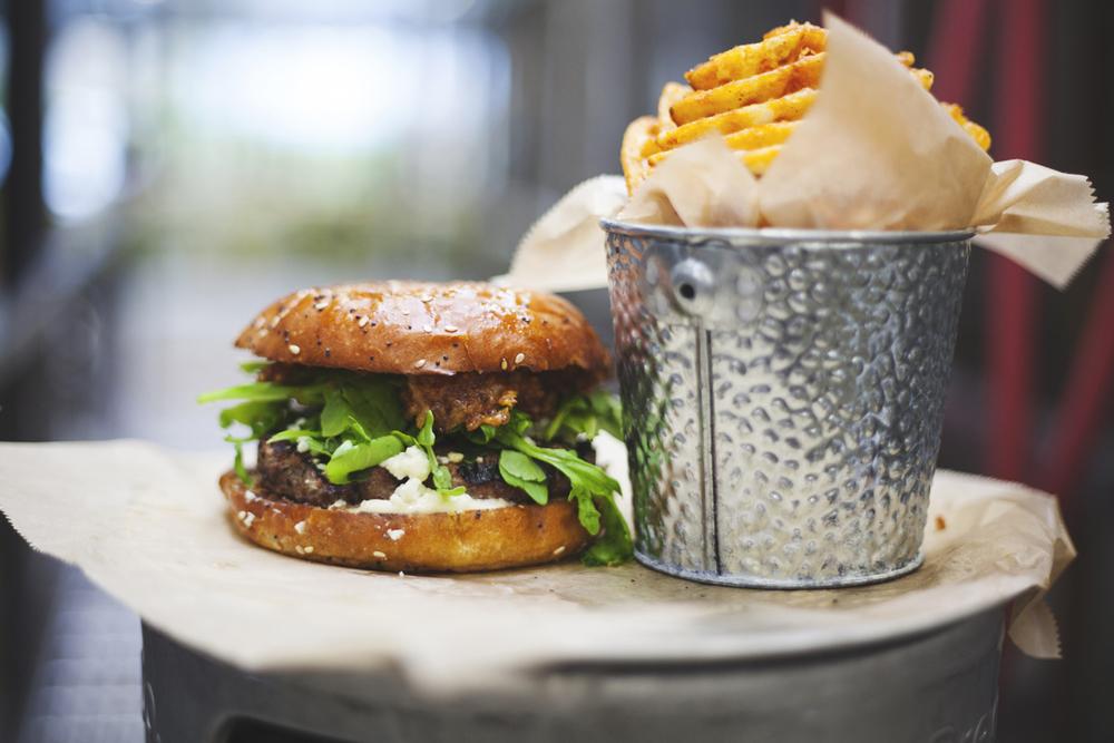 Bacon Bison Burger (*GF) $13 BACON JAM + BLEU CRUMBLES + ARUGULA + MAYO + WAFFLE FRIES