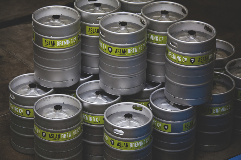 Kegs ready for delivery.