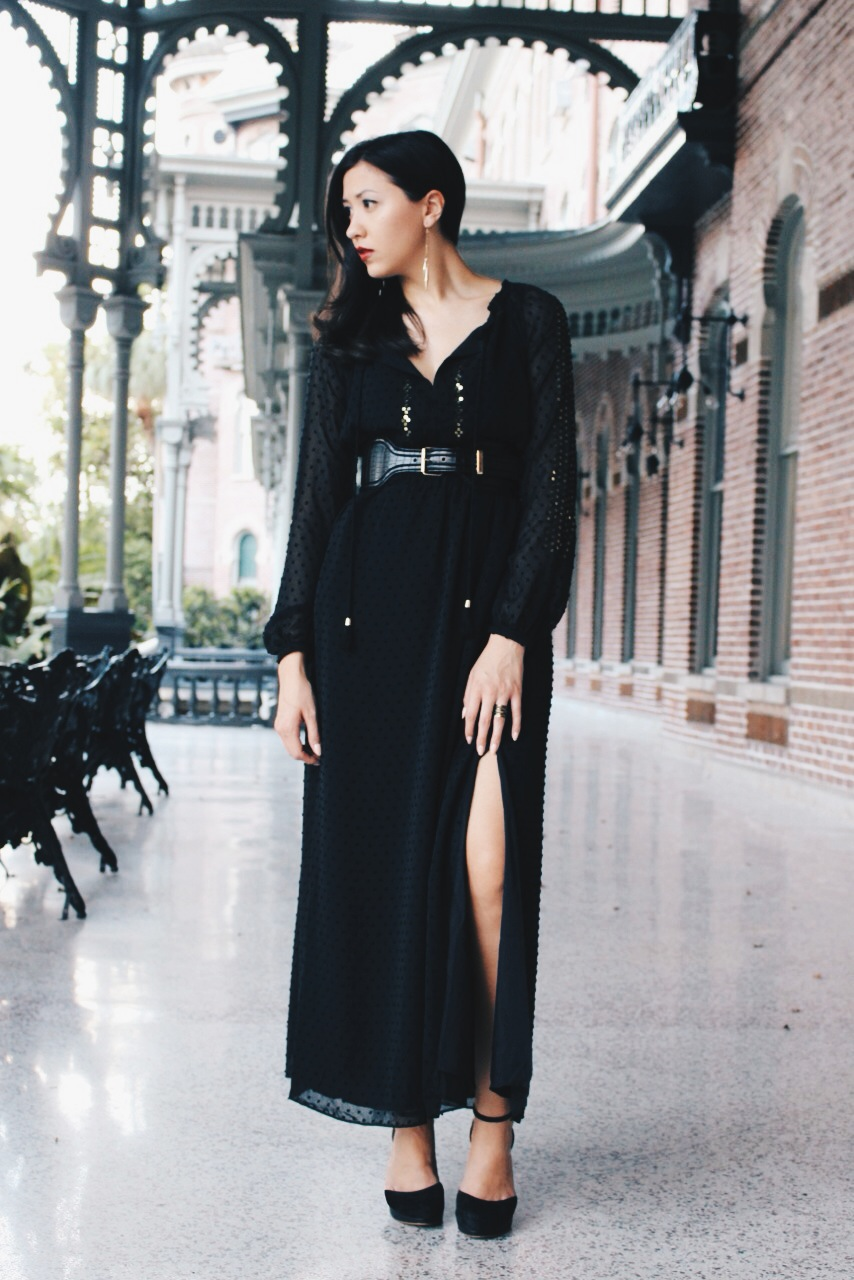 The slit is the standout feature of this maxi, but it is not as dramatic as the look book portrayed it to be.