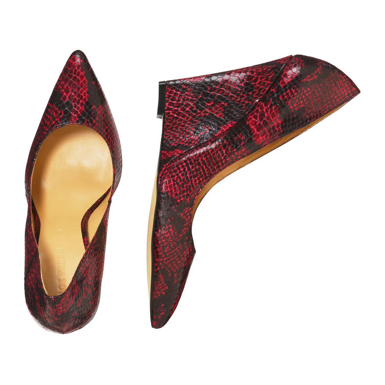 These Joe Fresh red snake print wedges are an edgy, on-trend option to add a pop of color to your work or date night wardrobe. Photo courtesy of Joe Fresh.