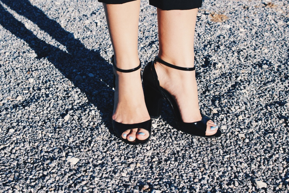 I call these patent ankle-strap Zara heels my Barbie shoes because they remind me of the open-toe mules vintage Barbies always wore.