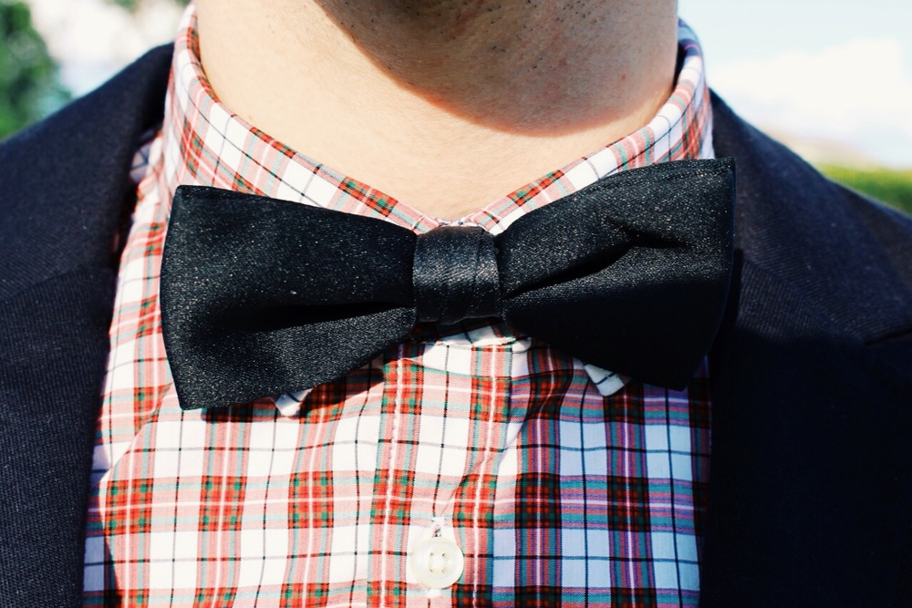 A bow tie is a funky way to dress up an outfit without making it look too formal or stuffy.