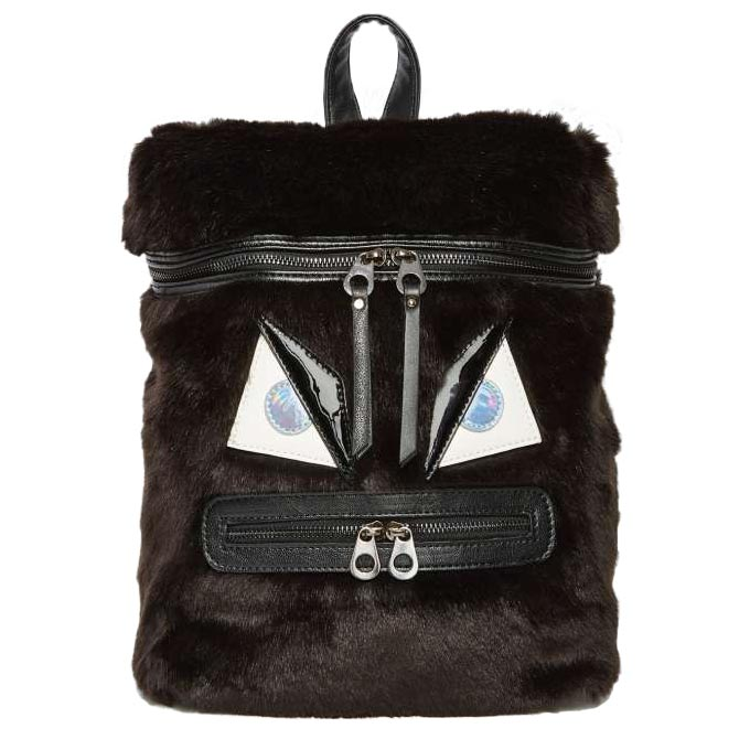 """ThisNasty Gal x Nila Anthony """"Gone Mad"""" faux fur backpack is the perfect affordable alternative to the Fendi Monster collection. Photo by Nasty Gal."""