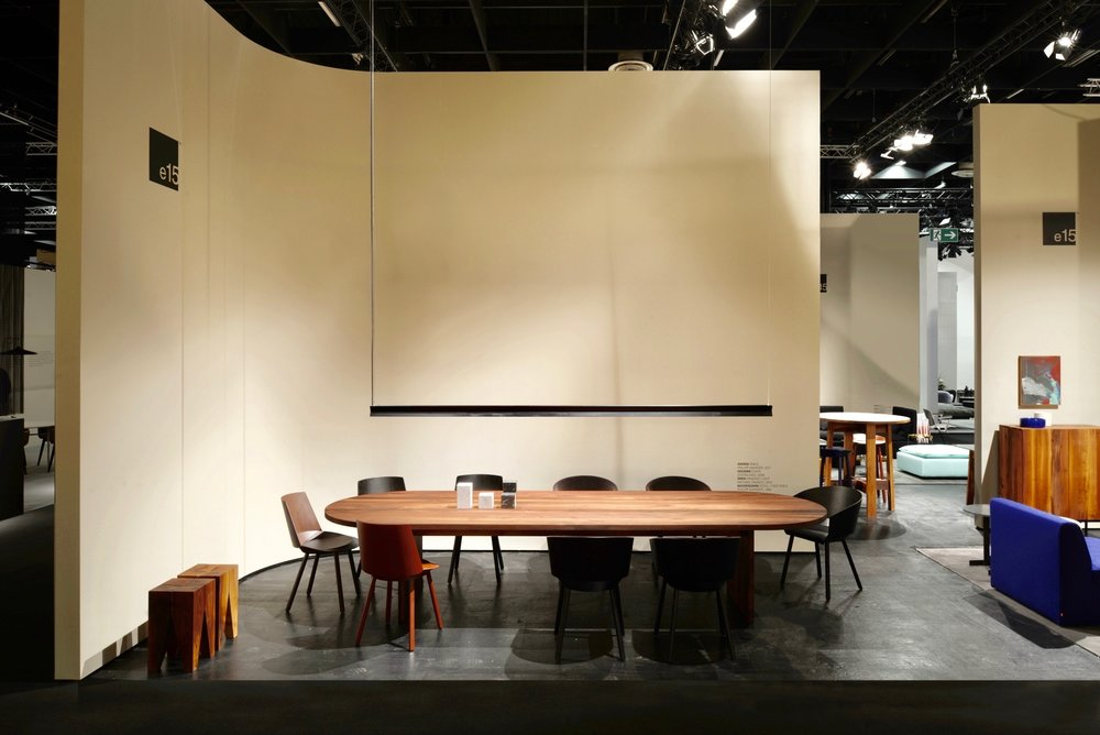 Ashida table and Backenzahn stools by Philipp Mainzer, Houdini chairs by Stefan Diez, Span pendant by Michael Raasch.