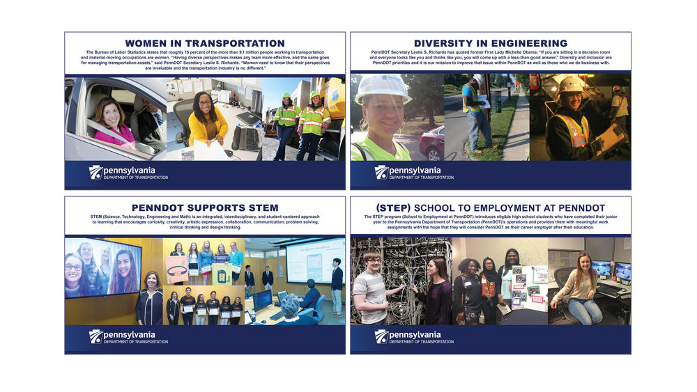 Developed parts of a presentation to show how PennDOT supports women in transportation, STEM programs, school to employment at PennDOT, and diversity in engineering. Also, showed the response from the public to related posts on social media.   CLICK BELOW TO VIEW PRESENTATION:    PennDOT Initiatives (PDF File)