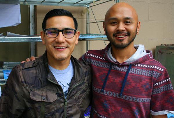 Adrian Avila of Silicon Valley DE-BUG and Alvin Florio, arts educator at Silver Creek High School.