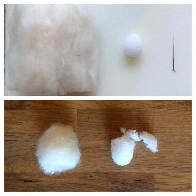 Sometimes a brilliant idea ends up not being one at all. The little styrofoam egg did not want to come out of it's cocoon.  #needlefelting