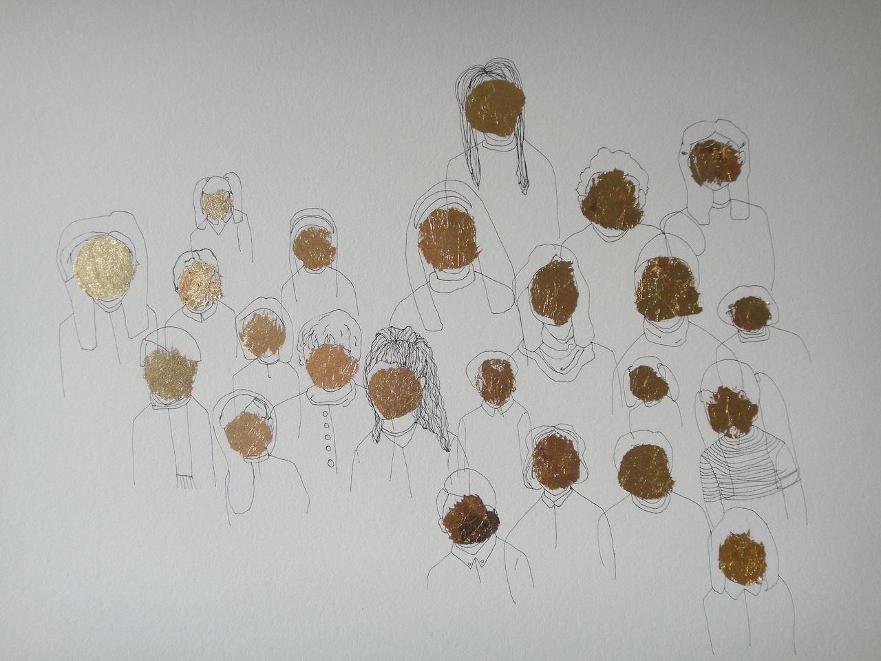 Detail of Untitled (gold faces)