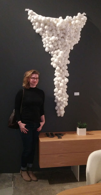 The artist with Untitled (Cluster) at Dzine.