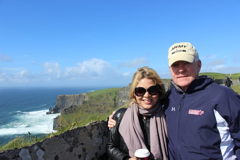 With my dad at the Cliffs of Moher.
