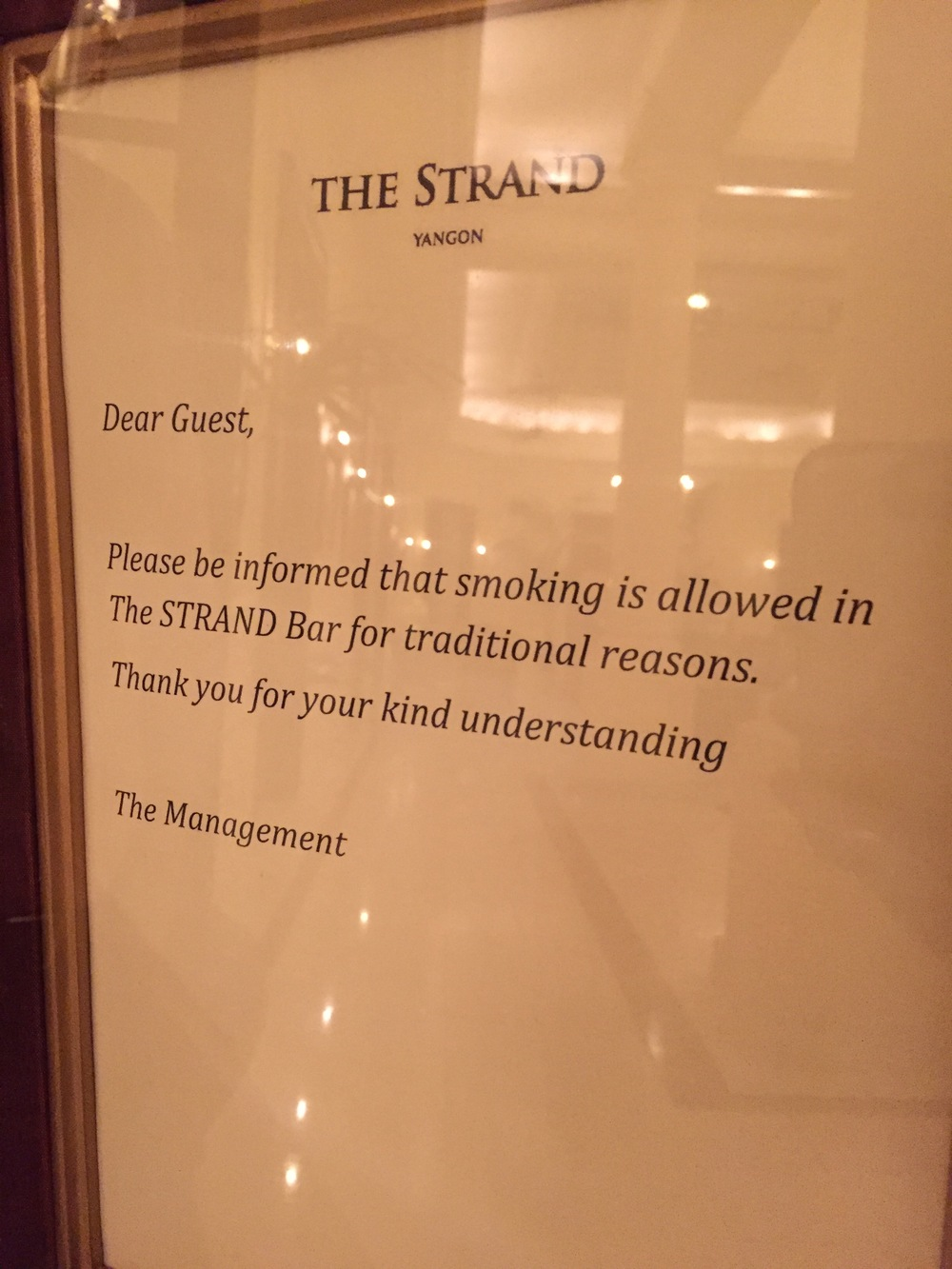 The sign in The Strand Lobby Bar