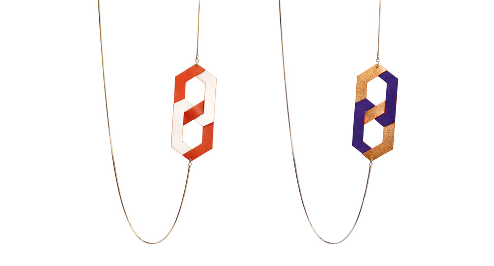 SUZANNE - luxury leather necklace - reversible - Design Camille Roussel