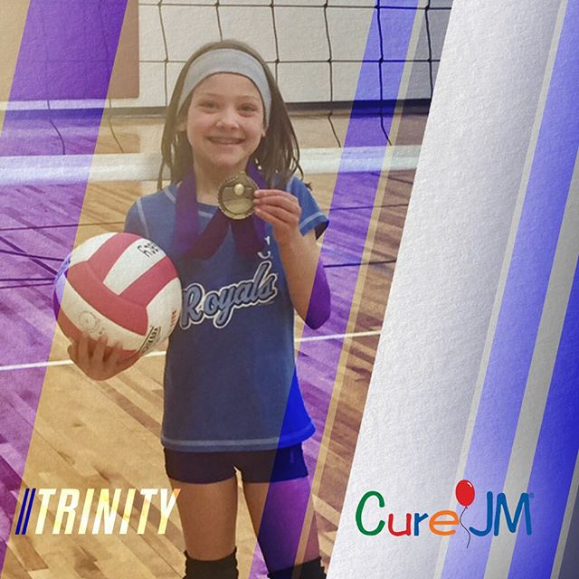 "TRINITY . . ""Less than a year after diagnosis Trinity is back doing what she loves -- playing volleyball. Trinity had been playing volleyball for 2 years when, last fall, she was diagnosed with Juvenile Dermatomyositis, the most common form of Juvenile Myositis. Before her diagnosis, Trinity told us that the volleyball seemed too heavy to toss in the air to serve. She had to scoot up to the 10 foot line on the court to serve and use two hands to toss the ball in the air. At that time, no one knew what was going on. Trinity was then diagnosed with JDM and quickly started treatments at Children's Hospital of Colorado in Denver. ""She has improved so much since being diagnosed last fall and starting her medications,"" says her mom Kerri. ""Both her strength and confidence have returned."" Recently, Trinity's team, the Spikers, won the Legacy Volleyball tournament in Fort Collins. She served from the back, regulation line and still pounded the ball over the other team's heads. ""We are proud of her not because her team won, but because she is winning. Her smile says it all!"" says Kerri."" _____ Thank you @CureJM Foundation for an incredible story of hope and perseverance! To learn more about how you can help fight for a cure for JM, visit our website at HoopsforHopeTournament.org."