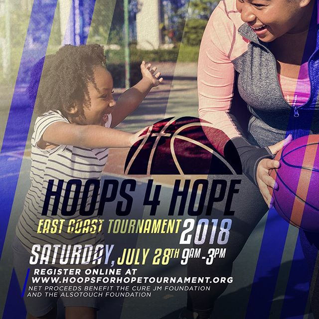 We are less than 50 days away! . We are so excited for the 1st Annual Hoops for Hope: East Coast Tournament! Basketball players (16+ Male & Female), beginner to advanced, are welcome to compete in order to raise awareness about Juvenile Dermatomyositis, and to keep Christiana Powery's memory alive! A portion of the benefits will go toward benefiting the Cure JM Foundation and AlsoTouch Foundation. _____ WHEN: Saturday, July 28th | 9am-3pm WHERE: Main Gym @ Baruch College | 55 Lexington Avenue, NY To register, and for more information, please visit www.hoopsforhopetournament.org