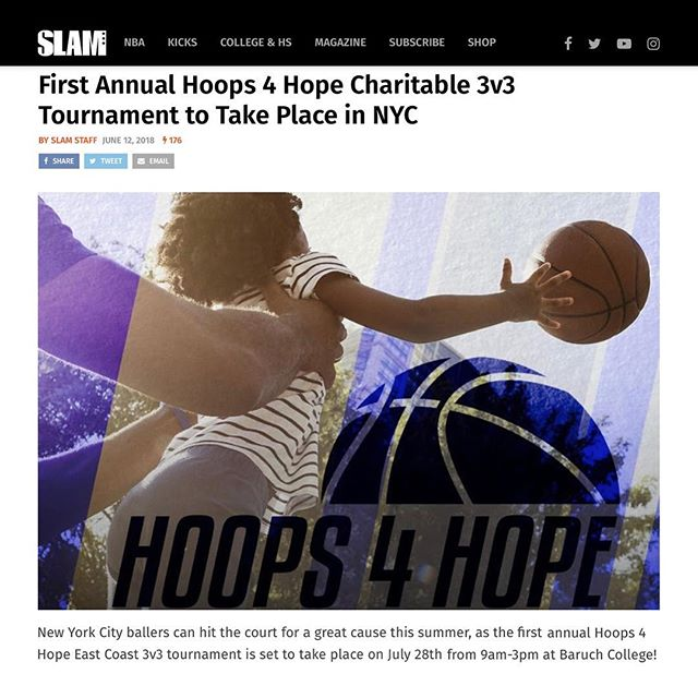 SLAM Magazine . Thank you SLAM Magazine for featuring our 1st Annual Hoops for Hope: East Coast Tournament in this month's issue!  SLAM Magazine is a well-known American magazine focusing on Basketball and Hip Hop. They havepublished over 200 issues in its history, and has featured the biggest names in basketball on its cover, in articles, and on its famous SLAMups posters. Some great athletes featured are Lebron James,Chamique Holdsclaw  , and Kobe Bryant! _____ To learn more about SLAM Magazine and read the feature they've done about the tournament, please visit the article link in our profile