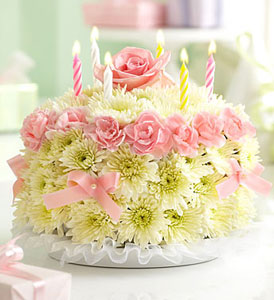 Large Birthday Flower Cake Pastel Oakland Florist