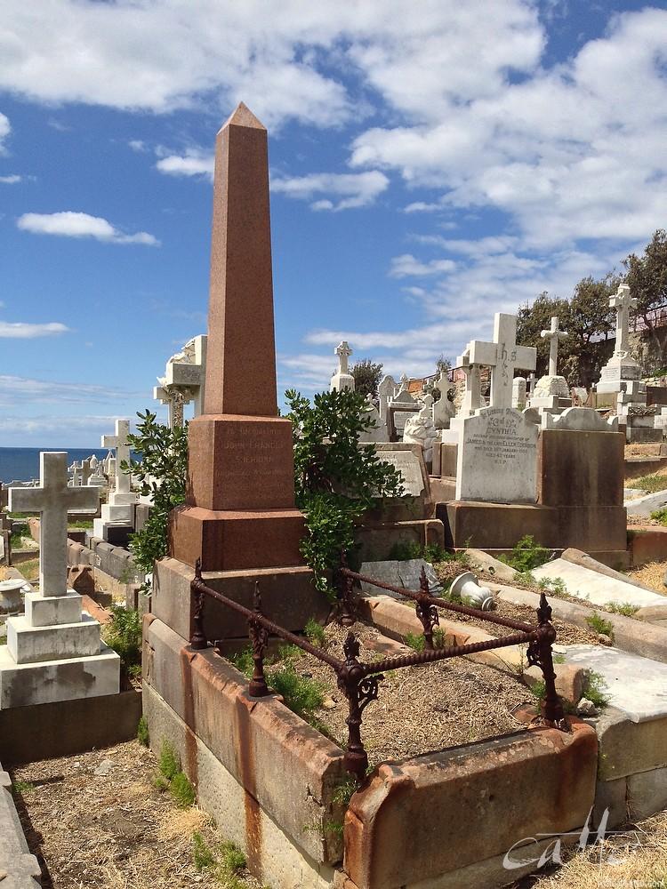 John F. Sheridan's grave at Waverley Cemetery, Sydney.