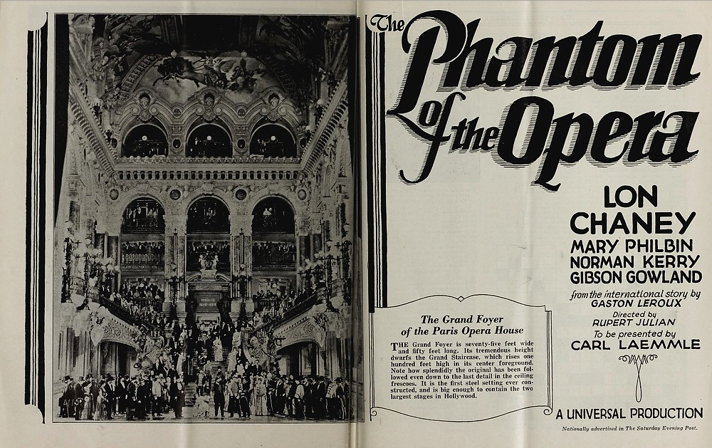 Original Phantom of the Opera pre-release ad from Universal Weekly, January 1925
