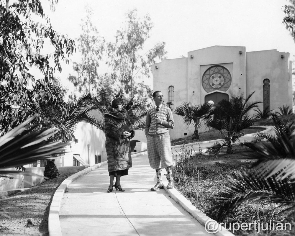 Elsie Jane Wilson and Rupert Julian at home at 2130 Vista Del Mar (the former Krotona Court) in Los Angeles, CA.  Photograph circa 1924, from the Bison Archive in Los Angeles, CA.
