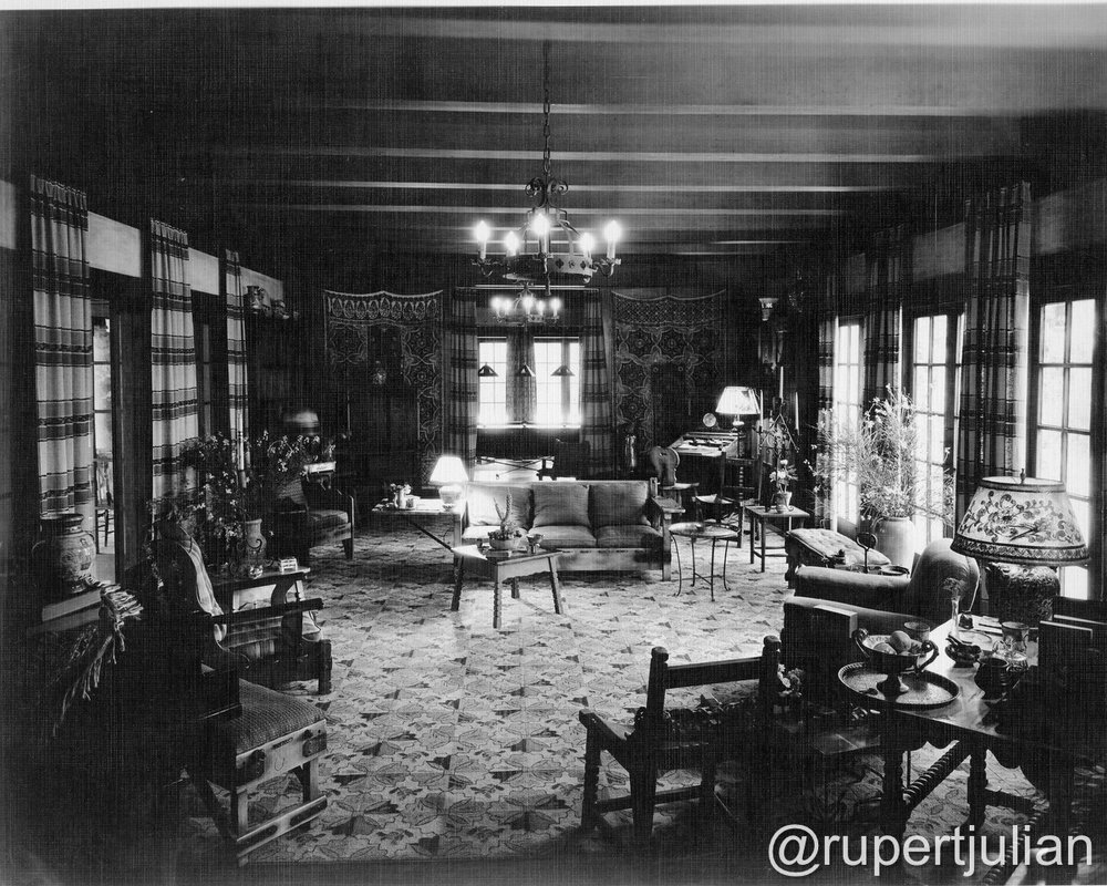 The interior at 2130 Vista Del Mar (the former Krotona Court) in Los Angeles, CA.  Photograph undated, from the Bison Archive in Los Angeles, CA.