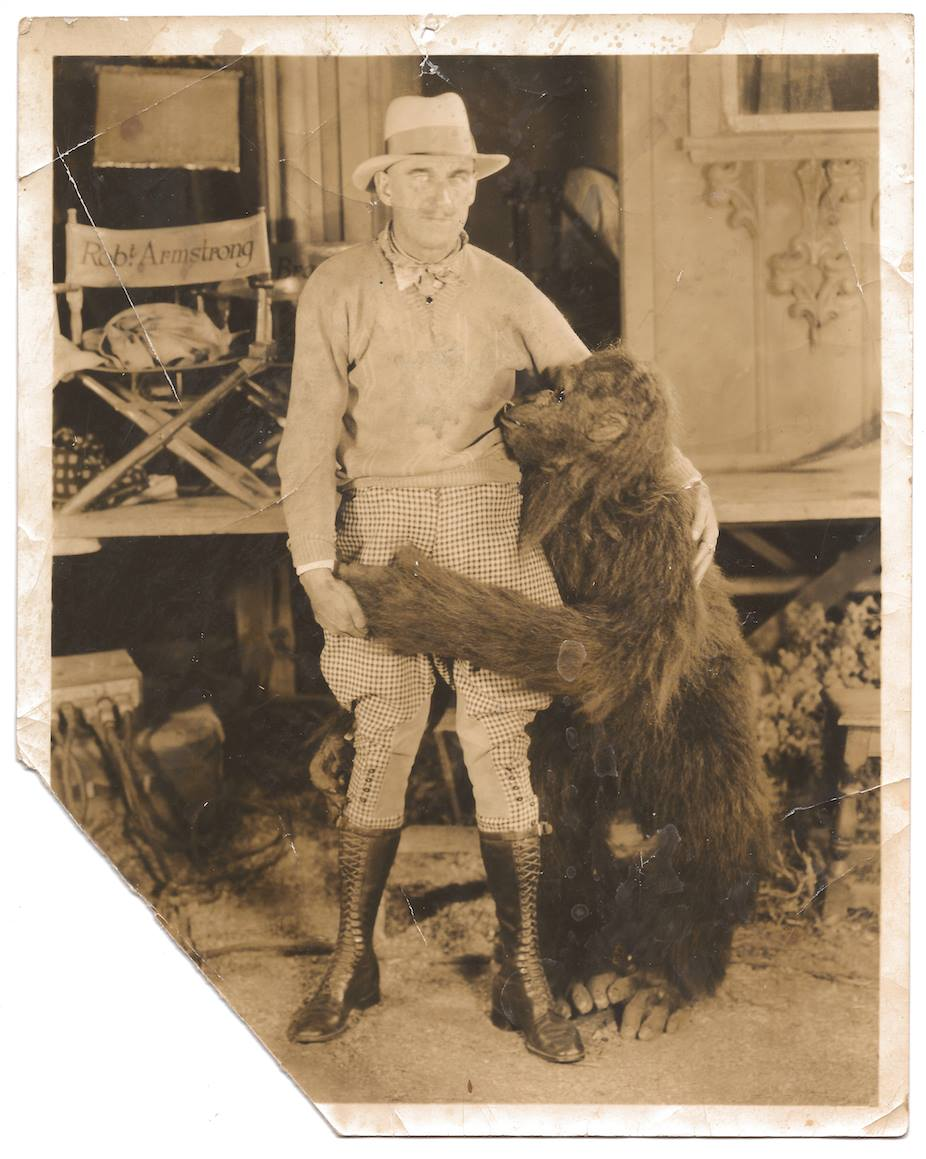 Rupert Julian with actor Charlie Gemora (in monkey suit) on the set of  The   Leopard Lady , c1928. From Charlie's personal archive, courtesy of his family and JL Barnett.