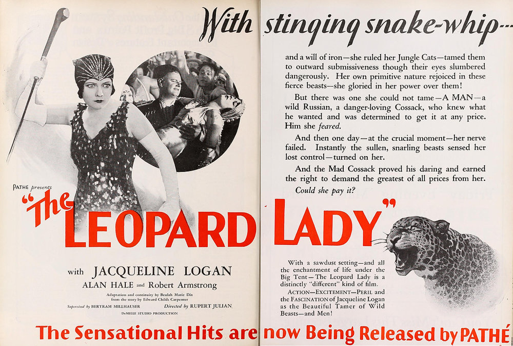 Original ad for The Leopard Lady from Motion Picture News, 1928.