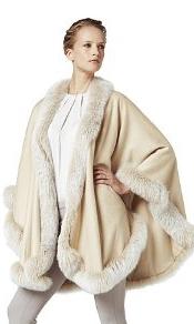 100% Baby Alpaca Fur Trimmed Ruana in White.jpg