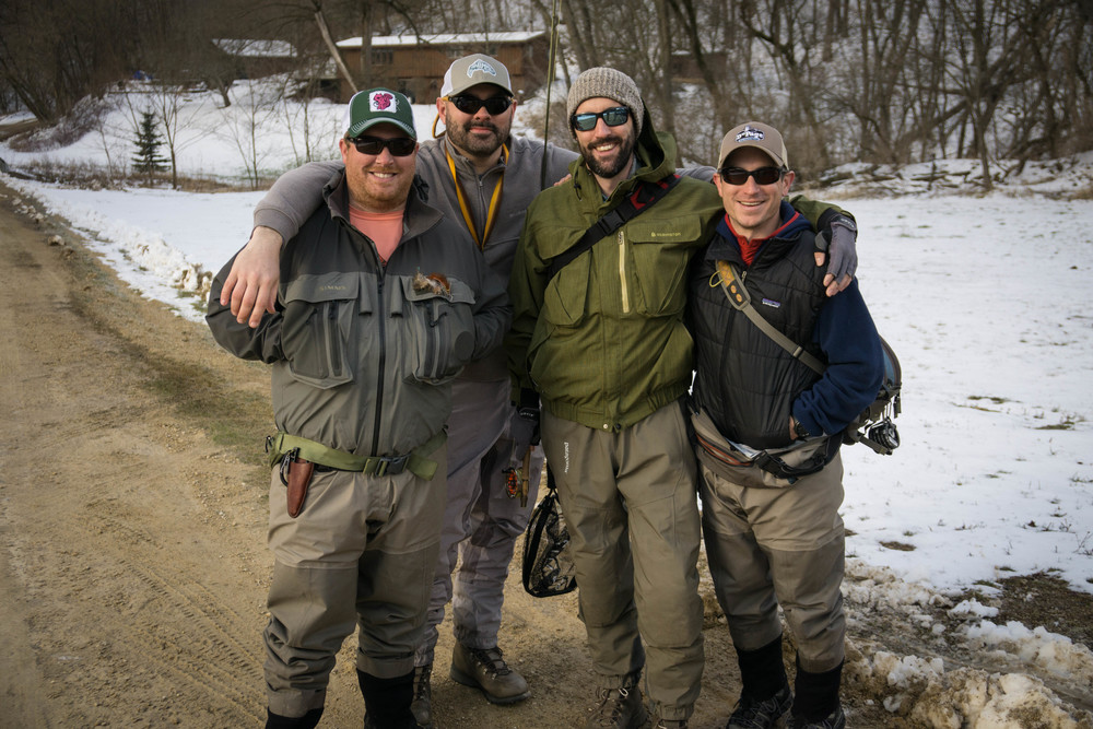 Our merry band of Anglers - (from left) Bill, Keith, Jonathan, and I'm the tall one on the end.